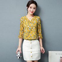 伊秋夢紫 半身裙夏 2017夏季新款女裝韓版時尚套裝顯瘦包臀裙短裙女兩件套8828(黃色 XXL)