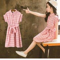 兒童夏裝2019新款女童連衣裙童裝小女孩衣服夏公主裙子洋氣潮 格子 150cm(s 白)