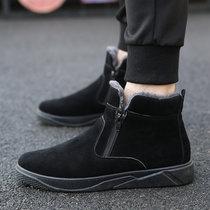 卡郎琪 男士冬季加绒加厚保暖雪地靴 青年短筒保暖棉鞋舒适?#34892;?#30701;靴子棉鞋 XD-A328(全黑色 40)