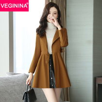 VEGININA 2017秋新款修身时尚斗篷外套系带中长款风衣女 D6110(红棕 2XL)