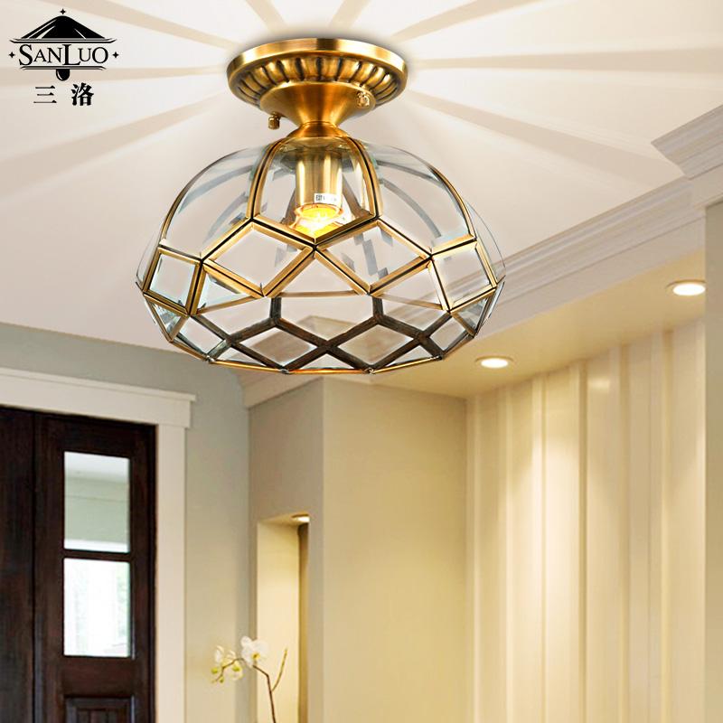创意阳台过道灯欧式简约现代玄关门厅楼梯灯具(单头吸顶灯(不含光源))