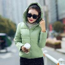 邑概念 2017冬季糖果色学生棉衣女短款羽绒棉服女修身棉袄外套(绿色 XXL)