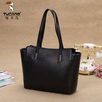 啄木鸟女包简约手提包韩版女士单肩包大包包新款妈妈包大包(黑色)