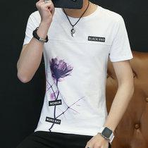 沖鋒道 男士2018年夏季新款短袖t恤 男青年時尚玫瑰印花圖案潮流夏版帥氣T恤 修身個性半袖體恤衫上衣(CFD_DQC1733白色 L)