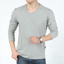 吉普盾春秋新款卫衣男士长袖T恤舒适棉质打底衫鸡心领套头衫V领长袖T恤(BST055A灰色 3XL)