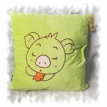 嘟喜乐猪猪靠垫抱枕40*40(绿色)