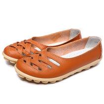中年女鞋妈妈鞋夏牛皮牛筋软底豆豆女单鞋平跟镂空透气女皮鞋凉鞋(桔色928 38)