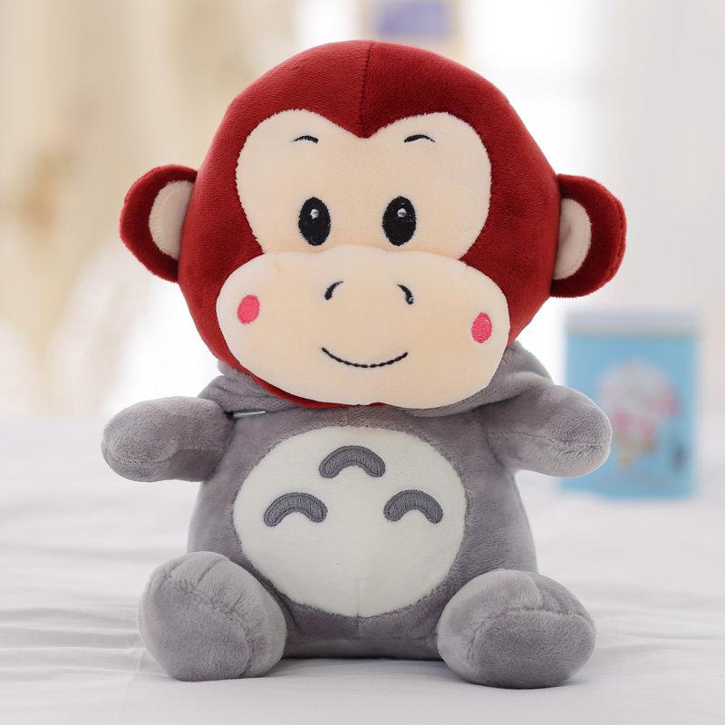 【龙猫变身系列创意礼品龙猫变身呆萌猴-酒红色25cm】