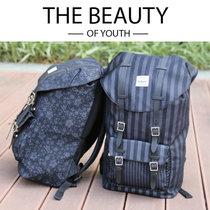 SELECT双肩背包运动休闲包电脑背包学院风背包中青年旅游包学生包欧美时尚走秀款 条纹/镂空花S-244(黑色镂空提花)