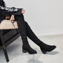 2017秋冬新款绒面高跟长靴粗跟弹力靴系带尖头过膝靴子长筒靴女鞋(39)(黑色982-12)