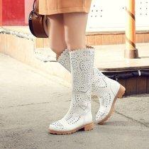 2017春夏女靴子时尚镂空洞洞靴凉靴夏天穿的靴子白高筒靴长靴单靴(37)(黄色)