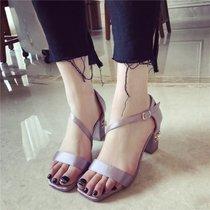 10韩版绸缎面露趾凉鞋女夏季新款珍珠铆钉粗跟高跟宴会礼服OL女鞋(37)(粉红色)