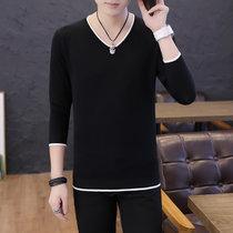 卡郎琪 男士新款长袖t恤薄款毛衣针织衫 青年百搭休闲V领体恤毛衣纯色打底衫上衣QCC126-1-837(黑色 XL)