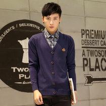 2016秋装新款男装休闲韩版长袖针织衫圆领修身型毛衣  5002(藏青色 XXXL)