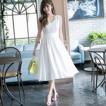 Mistletoe2017新款夏季女装 长款仙女绣花蕾丝雪纺连衣裙F6643(白色 XL)