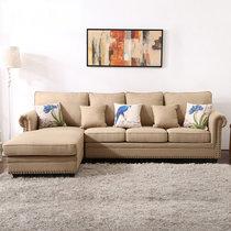 美式田园转角沙发 小美乡村布艺可拆洗整装家具简约户型客厅组合(颜色(定制) 三人位+贵妃位)