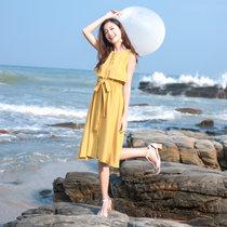 莉菲姿 夏季时尚新款韩版修身背心裙蝴蝶结系带连衣裙女无袖收腰中长款裙子(黄色 L)