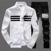 2017新款男式休闲运动套装男春秋长袖棒球服外套Y8 卫衣男装(白黑色 L)