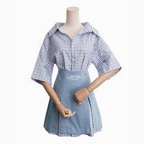 2018夏季新款格子中长款衬衫开叉牛仔半裙(蓝色)(L)