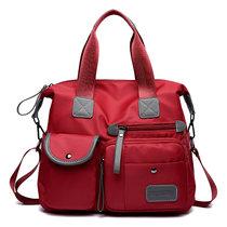 女包2018新款韩版纯色尼龙牛津布单肩斜挎包防水大容量手提包包潮(红色_BRMF1733_)