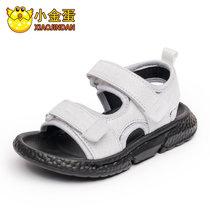 小金蛋童鞋男童凉鞋2019夏季新款韩版软底小孩中大童真皮沙滩鞋子(30码 白色)