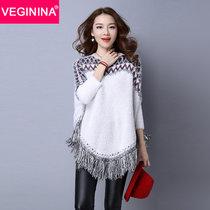 VEGININA 秋冬斗篷披肩女蝙蝠衫流蘇套頭針織衫毛衣 3364(白色 均碼)