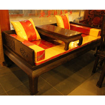 红木家具红木罗汉床?#30340;?#32599;汉床带炕几两件套仿古黑檀木