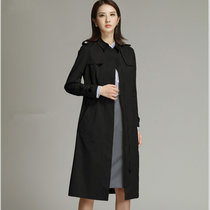 素芬 风衣女中长款纯色长袖春秋新款知性OL修身薄款外套大衣冬女装连衣裙SDA100001(黑色 XXL)