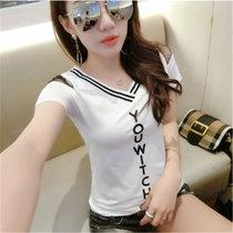 2018新款网纱露肩上衣女夏V领字母印花短袖T恤女(白色)