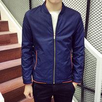 卓狼2016新款男士夹克薄外套韩版棒球领风衣夹克男潮J8622(深蓝色 XL)