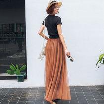 伊秋夢紫 半身裙夏 2017夏季新款女裝韓版時尚顯瘦網紗裙短裙女8827(棕色 XXL)