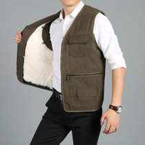 举翼王子秋冬羊毛内胆保暖背心外套男装中老年皮毛一体羊剪绒马甲开衫