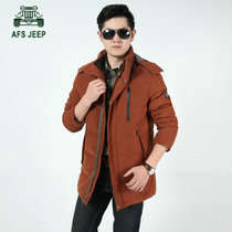 战地吉普冬装新品加厚中长款羽绒服外套男装 1505男士保暖羽绒衣(砖瓜红 3XL)