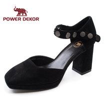 POWER DEKOR春夏季新款女鞋真皮羊皮方头高跟优雅单鞋2722G90306(黑色 39)