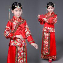 儿童秀禾服古装女孩童装中式婚礼礼服唐装花童民国影楼写真演出冬 红色(红色)(140cm)