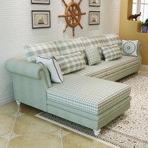 思巧 沙发 布艺沙发组合 美式乡村田园沙发 小户型可拆洗转角L型沙发家具 8899(浅绿色 【A版】单人+双人+左贵妃)