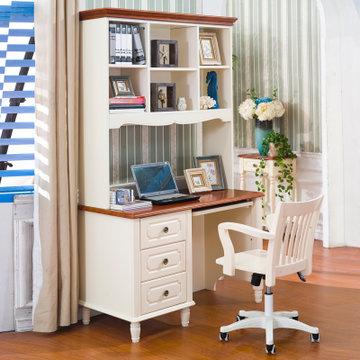 宜捷家居 书房家具儿童地中海书桌书柜组合电脑桌 米色 直角电脑台(书