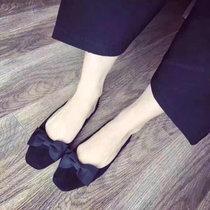2017春季新款韩版女单鞋平底浅口女鞋纯色方蝴蝶结(灰色 40)
