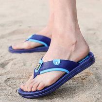 卡郎琪 夏季人字?#22799;?#28526;流韩版个性防滑休闲沙滩鞋学生时尚外穿夹脚凉拖鞋(XD-625蓝色 43)