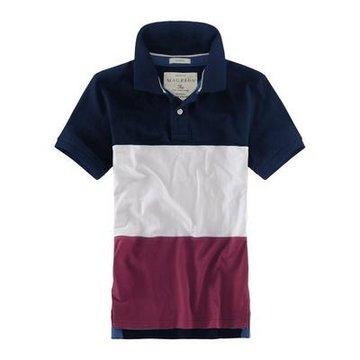 迈克菲恩 刺绣彩边绣翻领短袖t恤 纯棉透气 撞色拼接设计t017(蓝白红