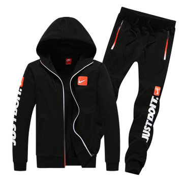 nike/耐克 男士运动服长袖套装跑步装备秋冬运动休闲装(黑色 l)