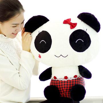 可爱熊猫 公仔 毛绒玩具 布娃娃 熊熊 公仔(红色 较小