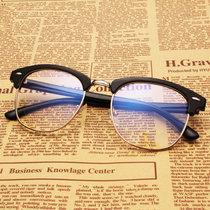 睿视明 复古韩版潮大框半框眼镜框架女男防辐射眼镜近视眼镜框架文艺复古潮流平光镜 无度数护目镜防蓝光电脑手机眼镜(磨砂黑 均码)