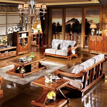 品尚美家 全实木沙发 金丝檀木家具中式客厅组合沙发801 纯金丝檀全实