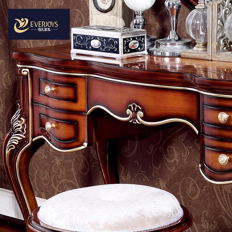 怡凡家具欧式新古典梳妆台美式全实木橡木化妆桌美式小户型梳妆镜带