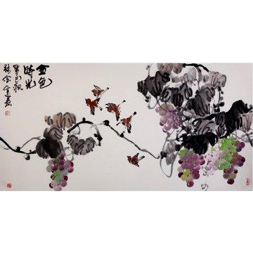 金色时光> 国画 花鸟画 水墨写意 瀚公 古风堂主人 葡萄 鸟 横幅