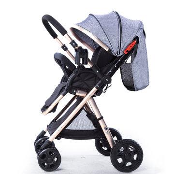 高景观婴儿推车双向推行手推车可坐可躺可折叠宝宝童车四轮减震避震婴儿车儿童手推车(灰色)