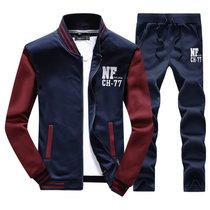 卓狼男装2016年新款男士棒球服套装跑步运动服长袖户外休闲卫衣两件套STD27(红蓝色 XL)