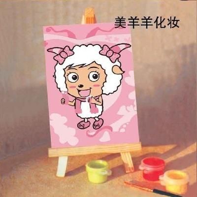 华庭丽娜手绘无框画 美羊羊化妆 10x15cm卡通迷你小油画 数字油画填色