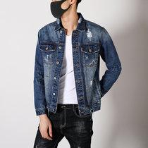 卡郎琪 新款潮流貓須破洞藍色牛仔外套 男韓版高品質春秋青年帥氣修身bf風嘻哈牛仔衣夾克KLQQCC126-190(藍色 XXXL)